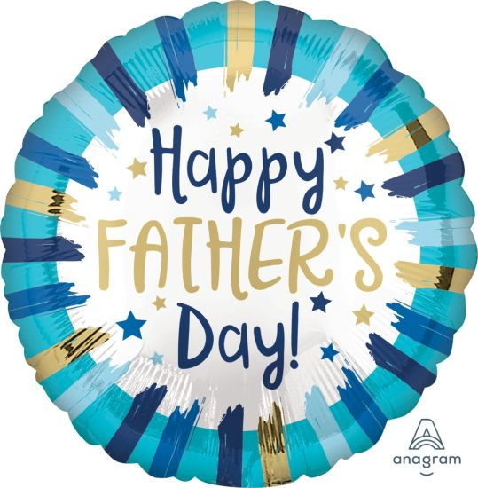 Happy Father's Day Painted Stripes Foil Balloon