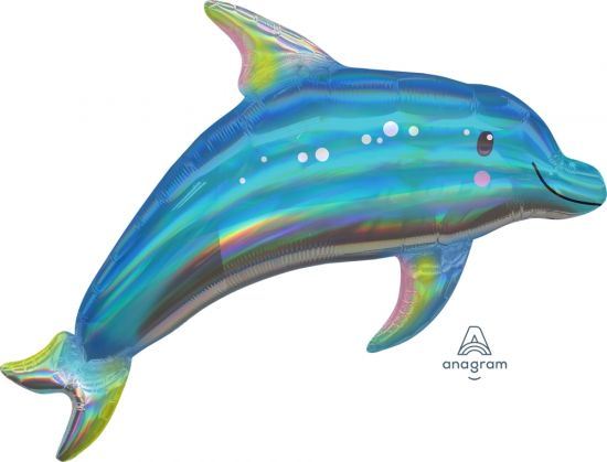 Iridescent Holographic Dolphin Foil Balloon Shape