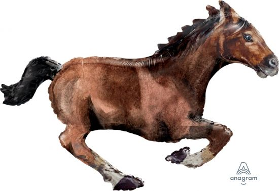 Galloping Brown Horse Foil Balloon