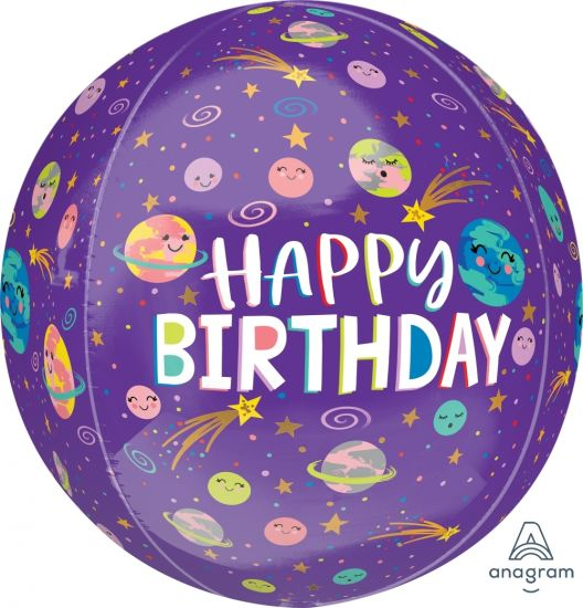 Happy Birthday Smiling Galaxy Orbz Foil Balloon