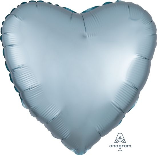 Pastel Blue Satin Luxe Heart Shaped Foil Balloon