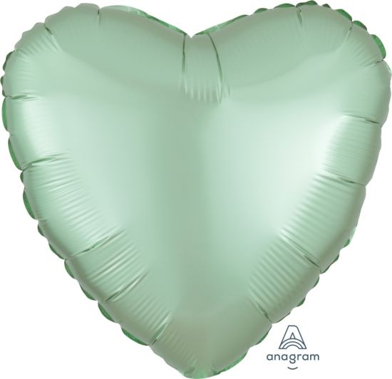 Satin Luxe Pastel Mint Green Heart Foil Balloon