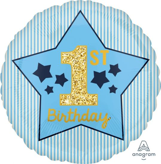 1st Birthday Blue & Gold Foil Balloon