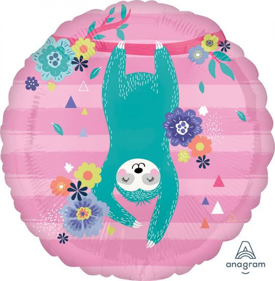 Hanging Sloth On Pink Foil Balloon