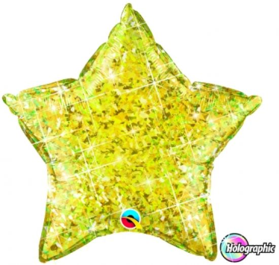 Jewel Yellow Holographic Star Foil Balloon