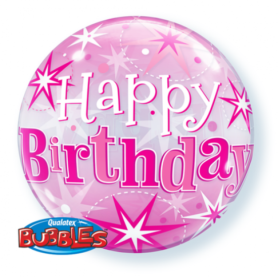 Happy Birthday Pink Starburst Bubble Balloon