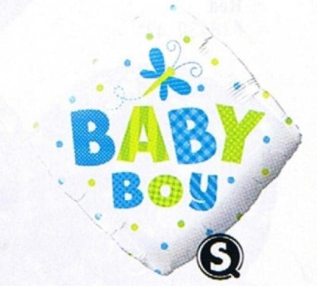 Baby Boy With Butterfly Diamond Shape Foil Balloon