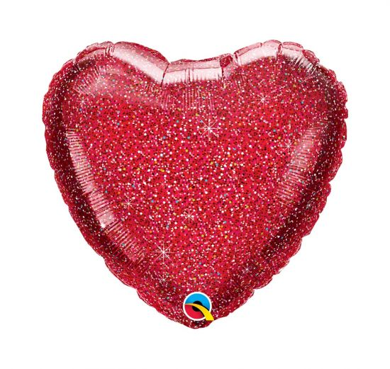 Glitter Graphic Red Heart Foil Balloon