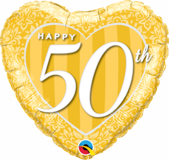 Gold Damask Happy 50th Foil Balloon