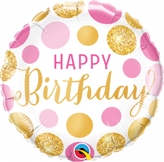 Happy Birthday Pink And Gold Dots Foil Balloon
