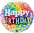 Rainbow Confetti Happy Birthday Foil Balloon