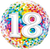Number 18 Rainbow Confetti Foil Balloon