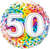 Number 50 Rainbow Confetti Foil Balloon