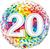 Number 20 Rainbow Confetti Foil Balloon