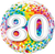 Number 80 Rainbow Confetti Foil Balloon