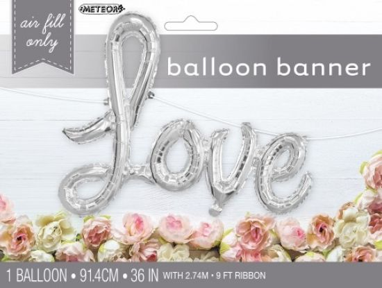 Love Silver Script DIY Foil Balloon