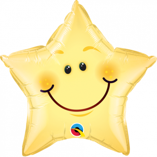 Yellow Smiley Face Star Foil Balloon