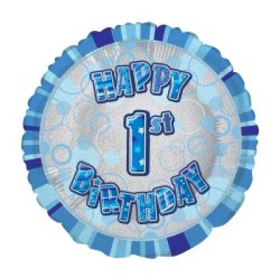 Blue Prismatic Happy 1st Birthday Foil Balloon