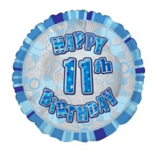 Blue Prismatic Happy 11th Birthday Foil Balloon