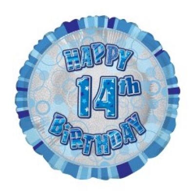 Blue Prismatic Happy 14th Birthday Foil Balloon