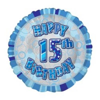 Blue Prismatic Happy 15th Birthday Foil Balloon