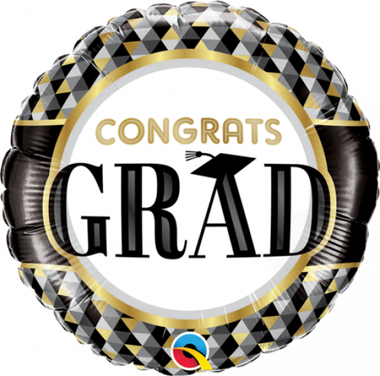 Congrats Grad Black And Gold Foil Balloon