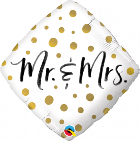 Mr & Mrs Gold Dots Diamond Shape Foil Balloon