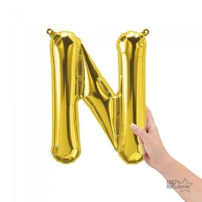 Gold Junior Letter N Foil Balloon