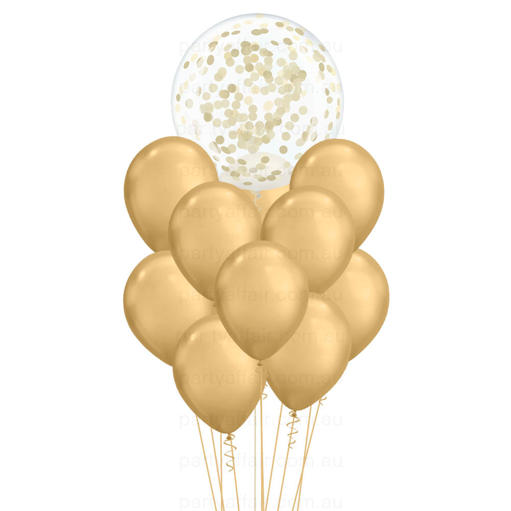 Lots of Gold Confetti Mini Jumbo Balloon Bouquet