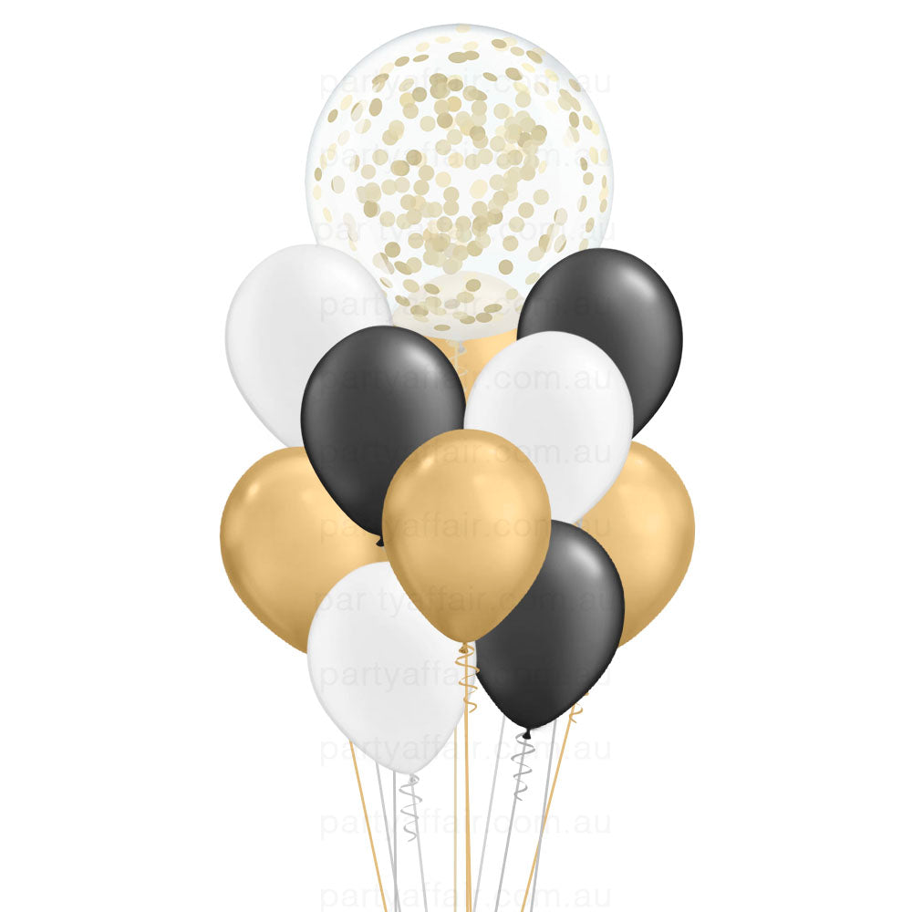 Lots of Black, White & Gold Confetti Mini Jumbo Balloon Bouquet