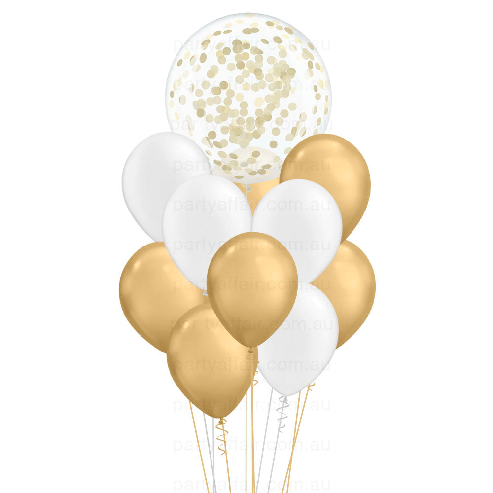 Lots of White & Gold Confetti Mini Jumbo Balloon Bouquet