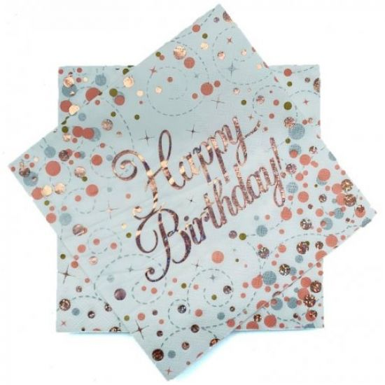 Sparkling Rose Gold Happy Birthday Lunch Serviettes