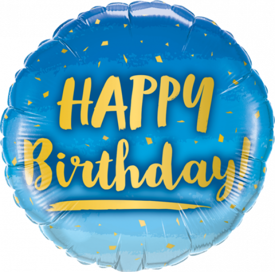 Blue & Gold Happy Birthday Foil Balloon
