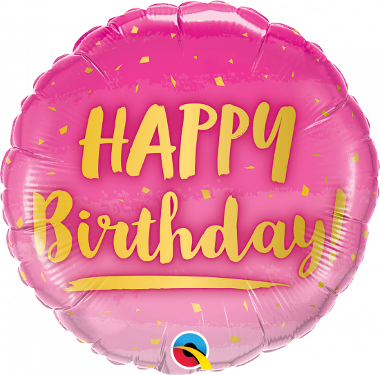 Pink & Gold Happy Birthday Foil Balloon