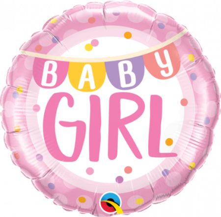 Baby Girl Banner & Dots Foil Balloon
