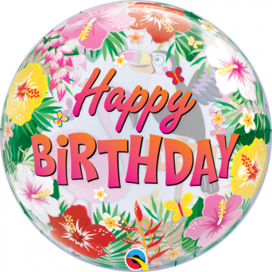 Tropical Happy Birthday Party Bubble Balloon
