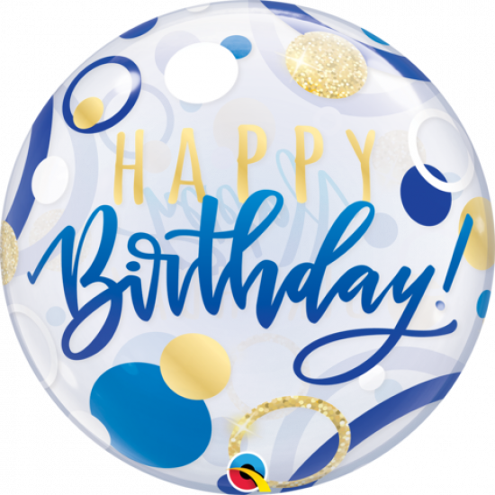 Blue & Gold Dots Birthday Plastic Bubble Balloon