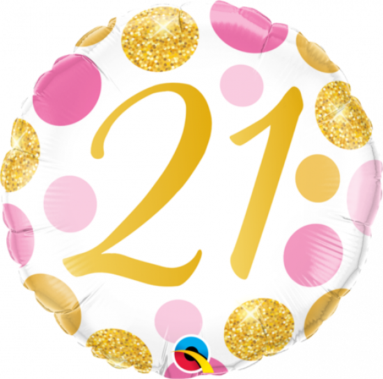 21 Pink & Gold Dots Foil Balloon