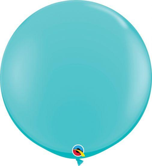90cm Round Caribbean Blue Latex Balloon Qualatex