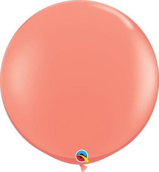 90cm Round Coral Latex Balloon Qualatex
