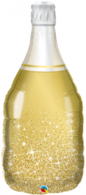 Golden Bubbly Champagne Bottle Foil Balloon Shape