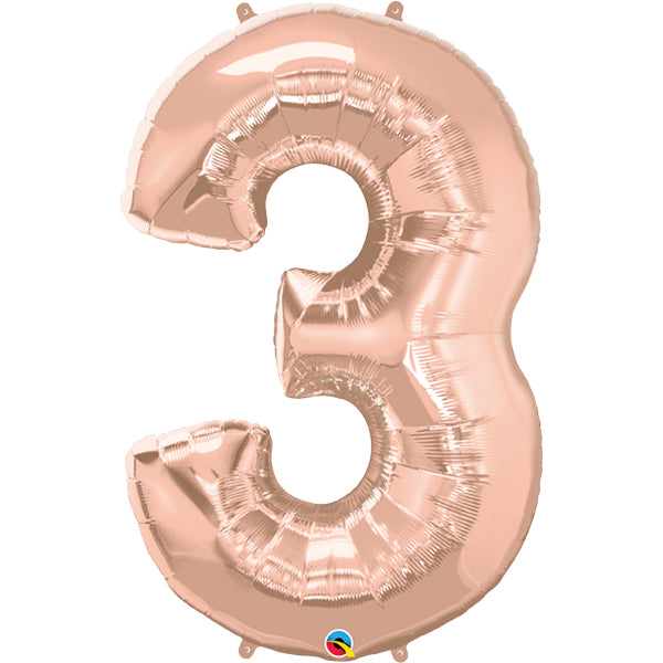 Rose Gold Number Three 86cm Foil Balloon