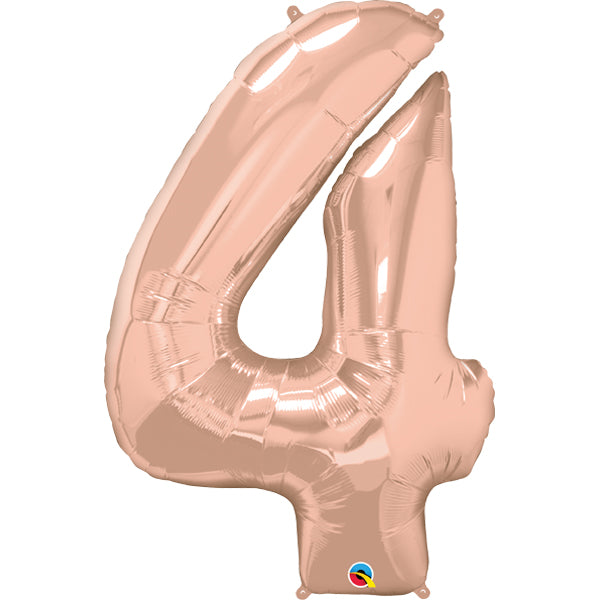 Rose Gold Number Four 86cm Foil Balloon