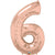 Rose Gold Number Six 86cm Foil Balloon
