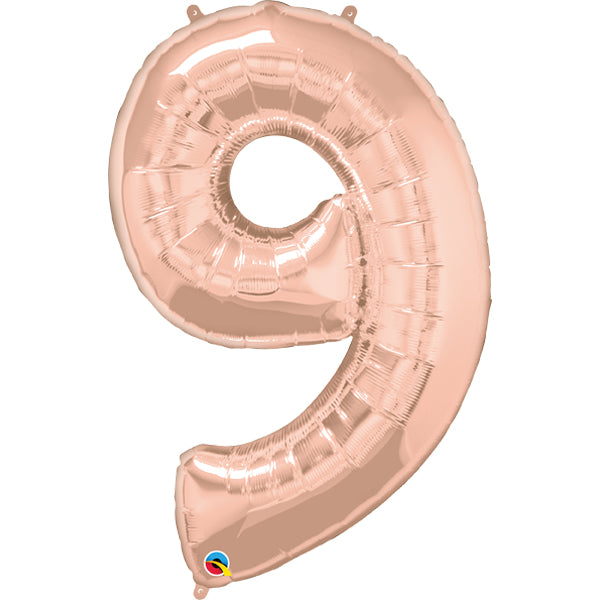 Rose Gold Number Nine 86cm Foil Balloon