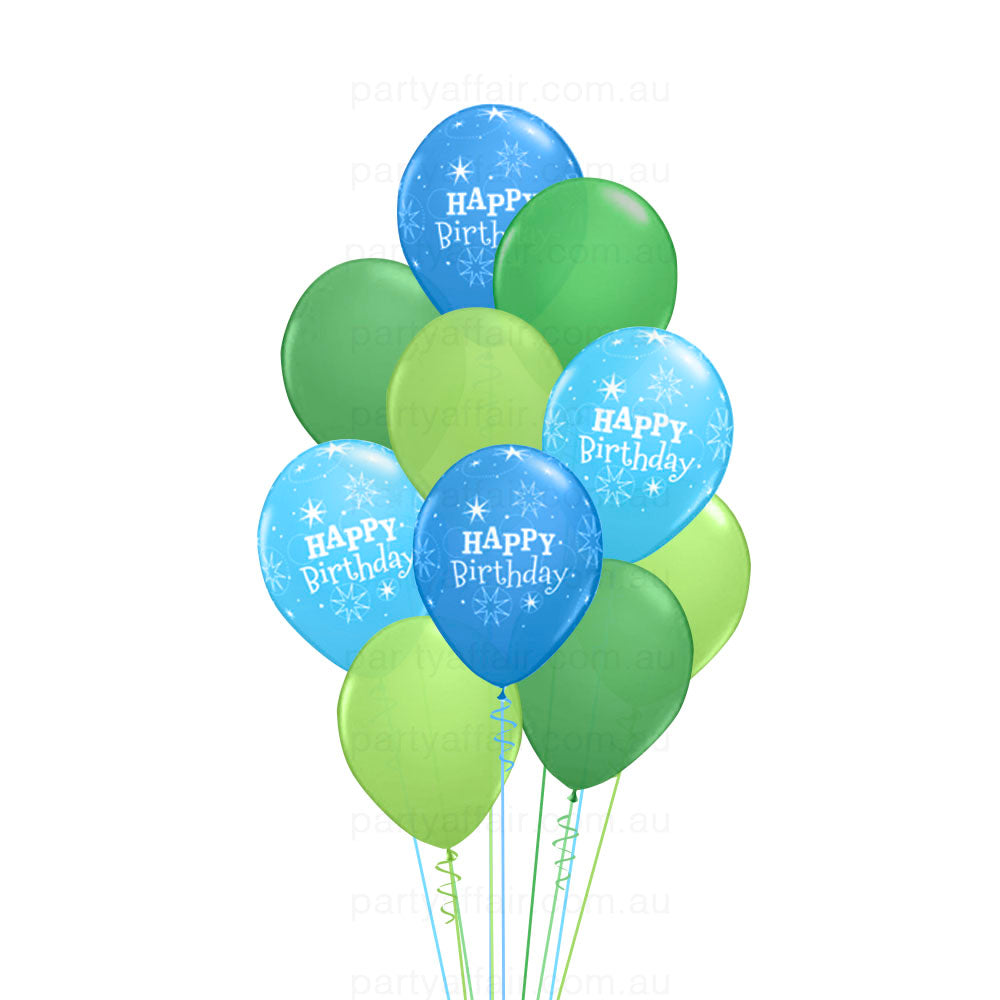 Birthday Sparkle Blue 10 Balloon Bouquet