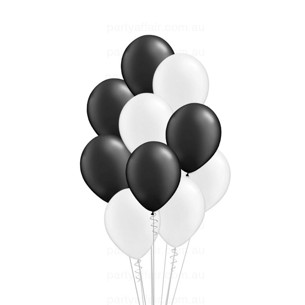 Black & White Latex 10 Balloon Bouquet