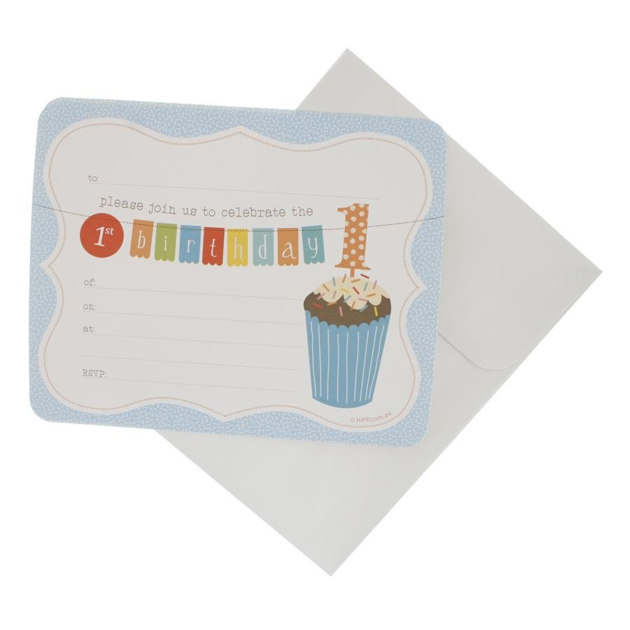 Blue First Birthday Party Invitations hiPP