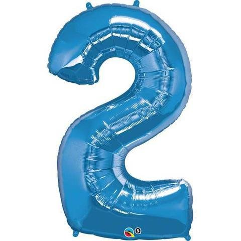 Blue Number 2 Two 86cm Foil Balloon Qualatex