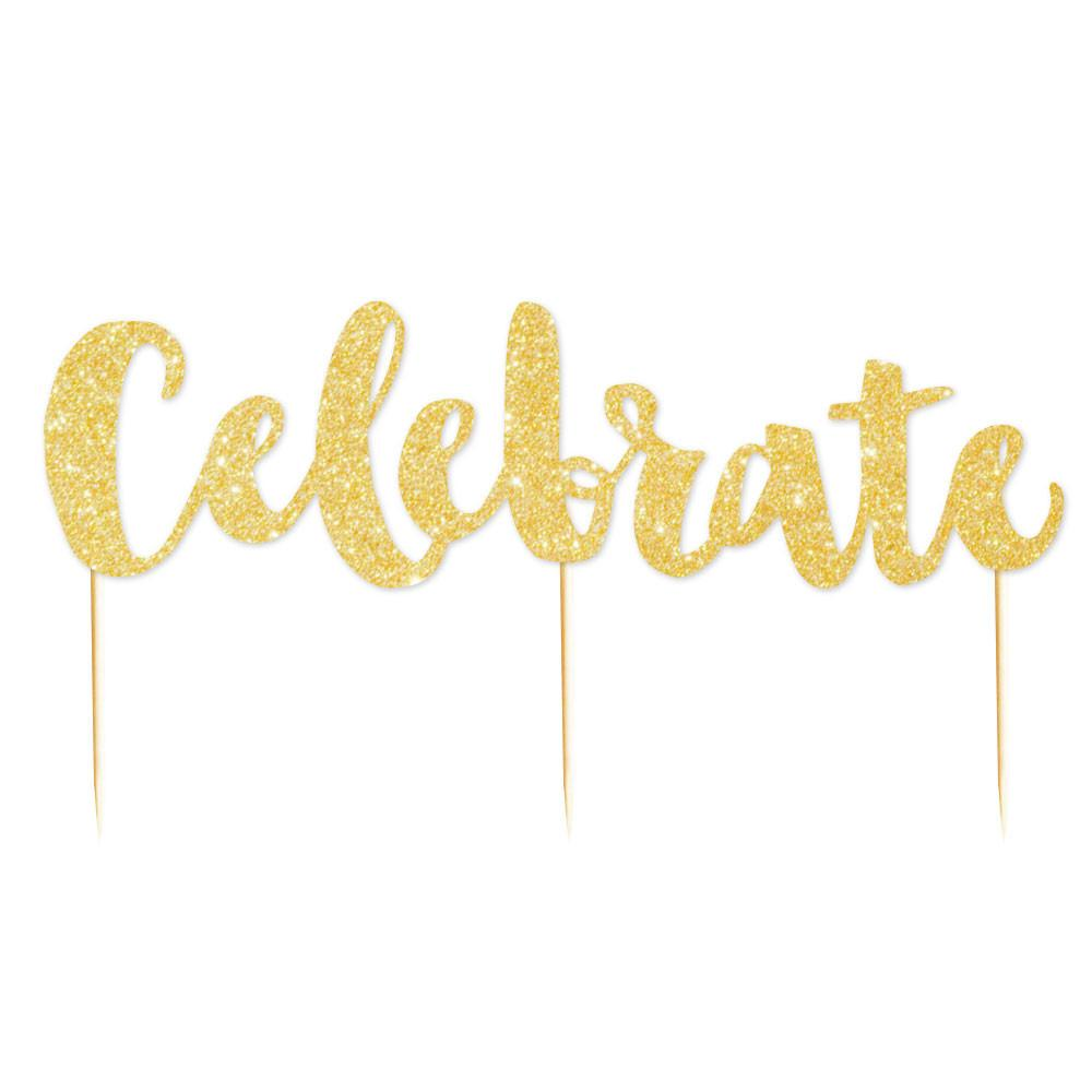 Celebrate' Gold Glitter Cake Topper illume design